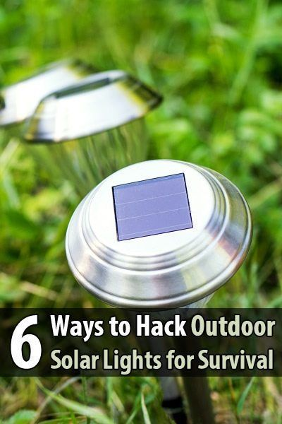 6 Ways to Hack Outdoor Solar Lights for Survival. Outdoor solar lights are a prepper's best friend. I have several in my front yard that I plan on using for extra indoor lighting during a power outage. But the following article has several interesting ideas I never considered before. #Outdoorsolarlights #Solarlights #Poweroutage #Urbansurvivalsite