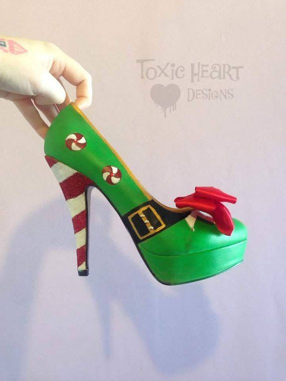 a7dcbde6b6f54 Sparkly Hand-Painted Elf Candy Cane Shoes from Toxic Heart Designs ...