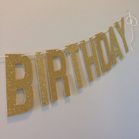 Gold Glitter Happy Birthday Banner  WITH ANY AGE  by APartyInABag
