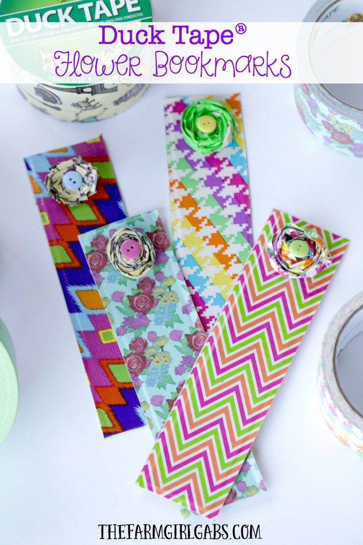 These Duck Tape Flower Bookmarks are a fun craft for kids and adults to  celebrate reading, a good book and a new school year.