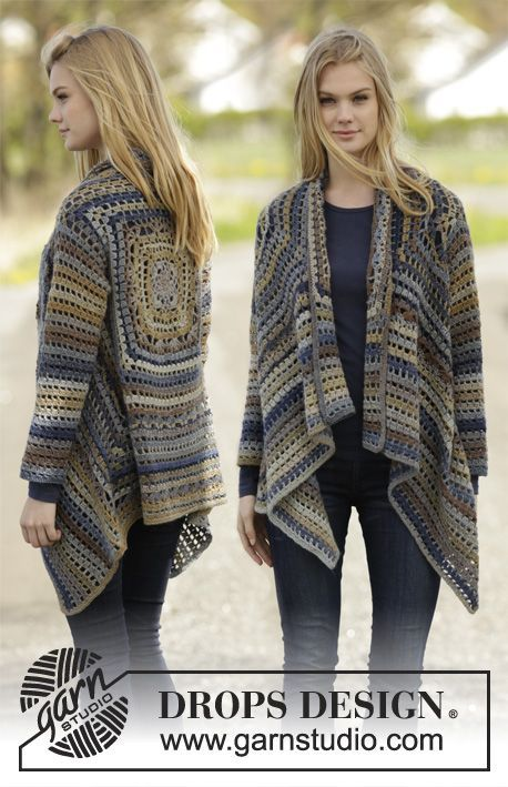"""Autumn Delight - Crochet DROPS jacket worked in a square in """"Delight"""". Size: S - XXXL. - Free pattern by DROPS Design"""