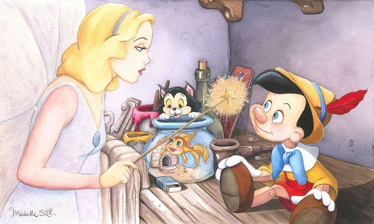 Pinocchio - Brave Truthful and Unselfish - Michelle St. Laurent - World-Wide-Art.com - #disney #michellestlaurent #pinocchio