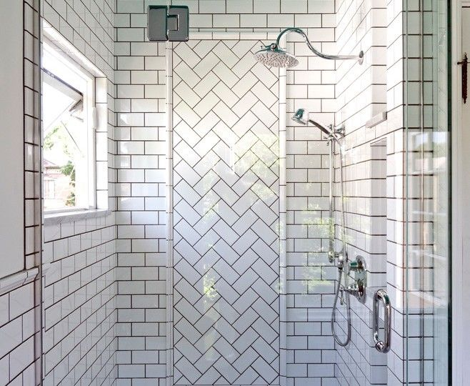 Innovative Herringbone Tile  convention Columbus Transitional Bathroom Decorating ideas with  chrome Dark Grout exposed plumbing historic historical lighting natural lighting painted ceiling retro retro