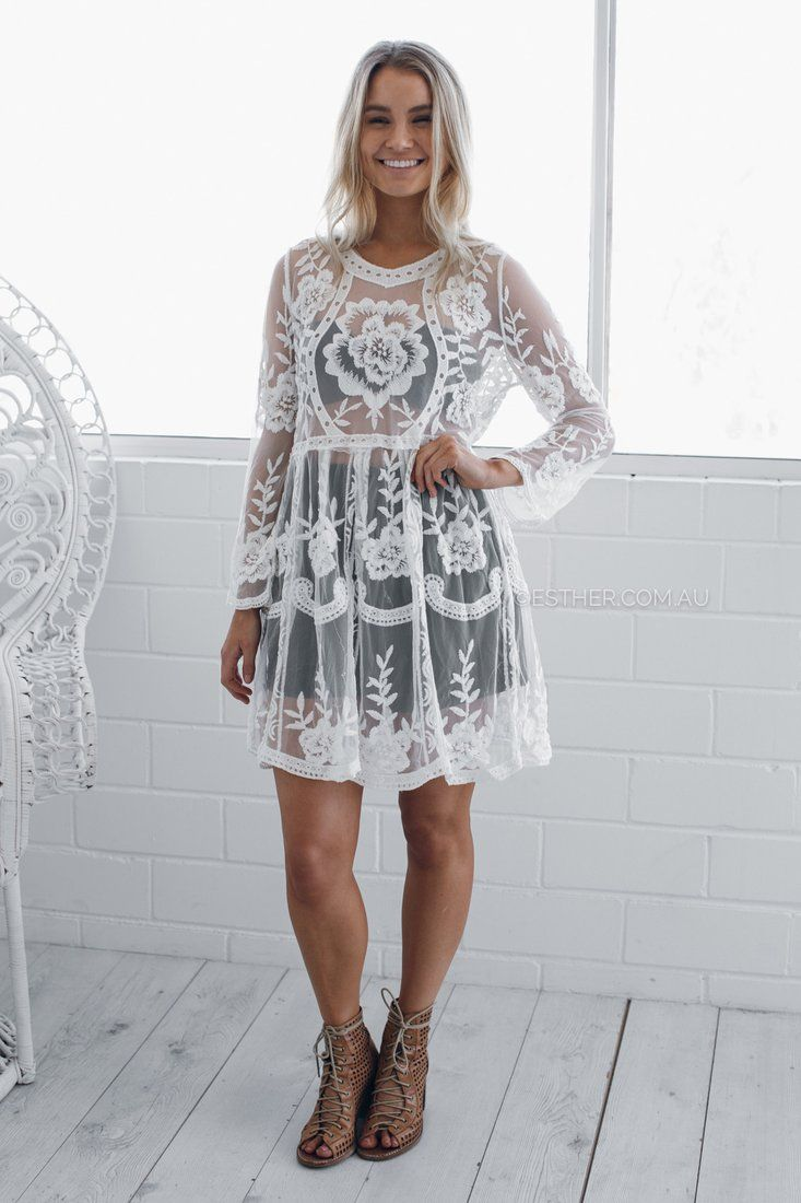 bia sheer lace dress - white