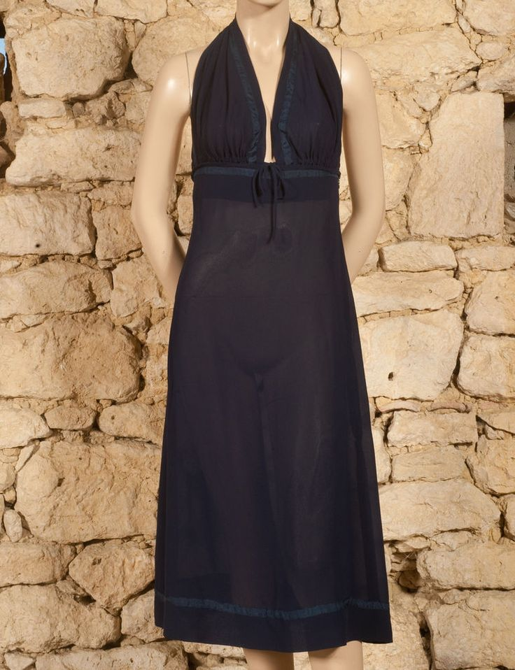 'JEAN PAUL GAULTIER - FEMME' 90s HALTER NECK DRESS - UK 8 - (Z) #JeanPaulGaultier #HalterNeck #Evening