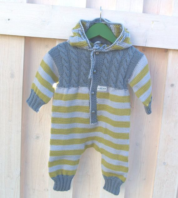 Hand knitted baby overalls blue yellow baby all in one by NesyBaby