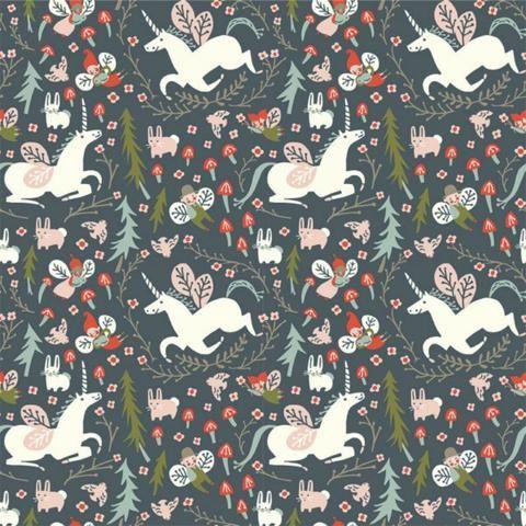 Birch Fabrics - Kristen Balouch - Folkland - Enchanted Unicorns in Dusk Organic by Bobbie Lou's Fabric Factory