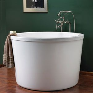 Japanese soaking tub. Not sunk in the ground, but it looks deep enough to soak to your neck.