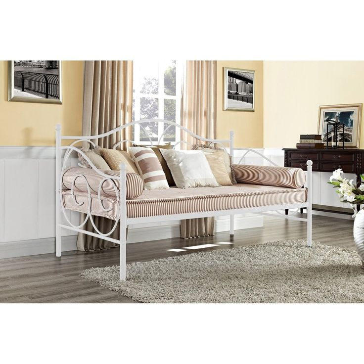 Kids Victorian Style Metal Daybed With Trundle Twin Roll