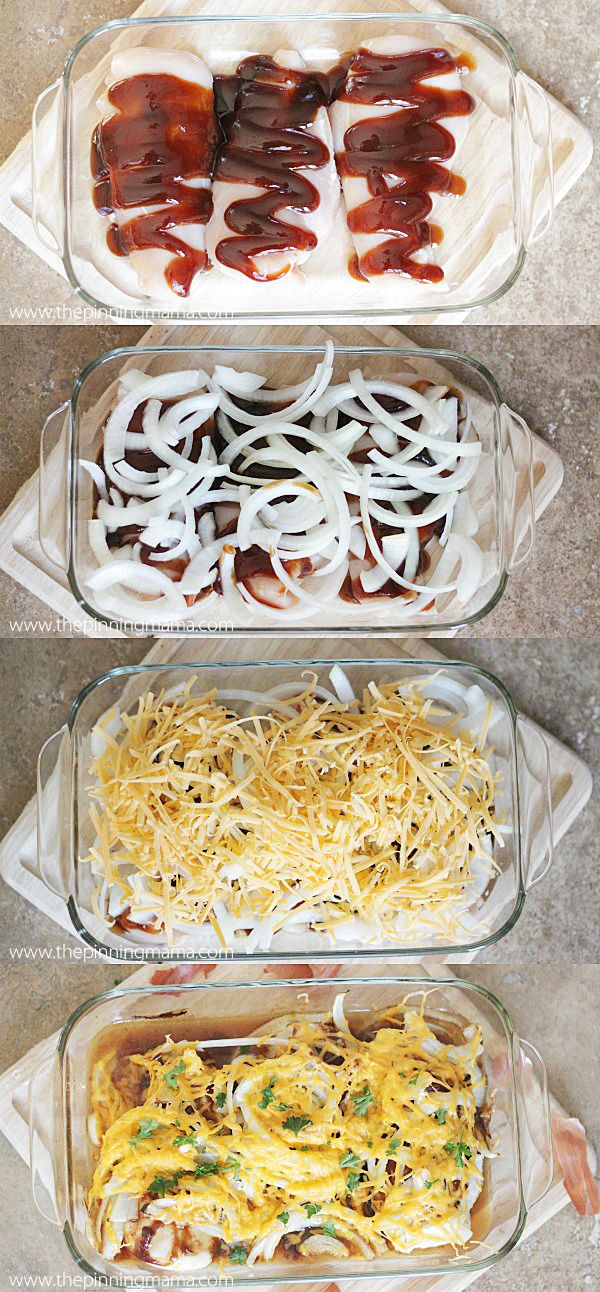 This is such a healthy & easy dinner! 4 Ingredient BBQ Chicken Bake via @thepinningmama