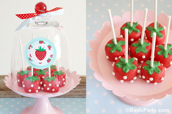 Strawberry Cake Pops by Bird's Party  #strawberry #cakepops #marshmallows #pops