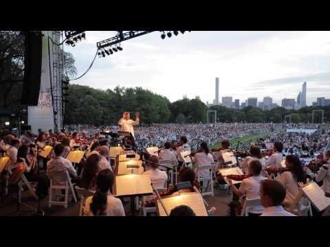 """The New York Philharmonic dedicated the June 15, 2016 concert, which opened the Concerts in the Parks, to the victims of the recent tragedy in Orlando and their families.  The free concert opened with a performance of Barber's """"Adagio for Strings,"""" conducted by Music Director Alan Gilbert, in tribute to the victims."""