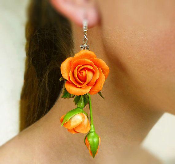 Orange earrings Long earrings Flower earrings Red jewelry Rose earrings Floral…