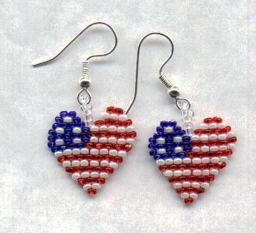 PATRIOTIC Beaded Heart American FLAG Seed Beads by FoxyMomma, $15.00