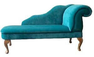 Chaise Longue in Teal Blue Velvet Fabric NEW | eBay