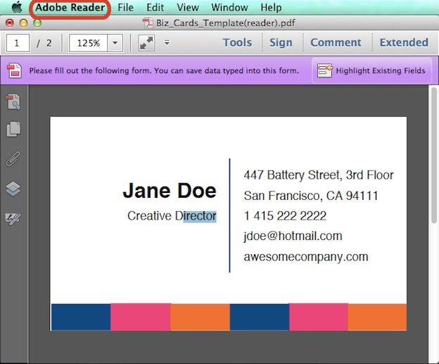 Create An Editable PDF Business Card Design Template In Steps - Business card pdf template