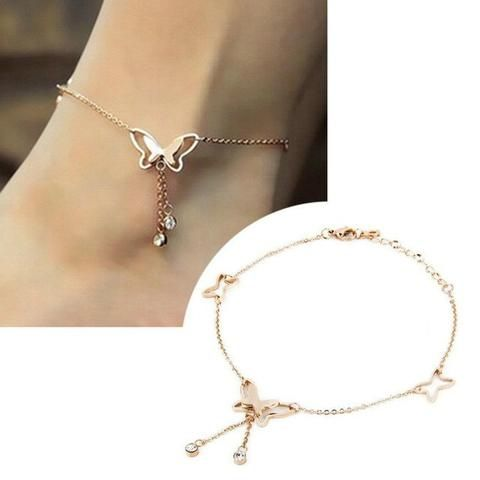 Butterfly Rose Gold Anklet