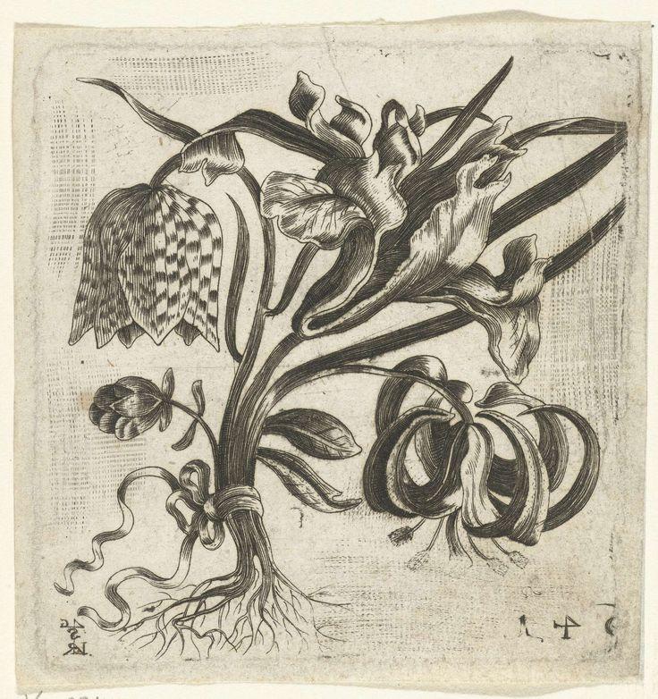 Klein boeket met bloemen, Monogrammist LRSG, anoniem, anoniem, ca. 1600 - ca. 1699