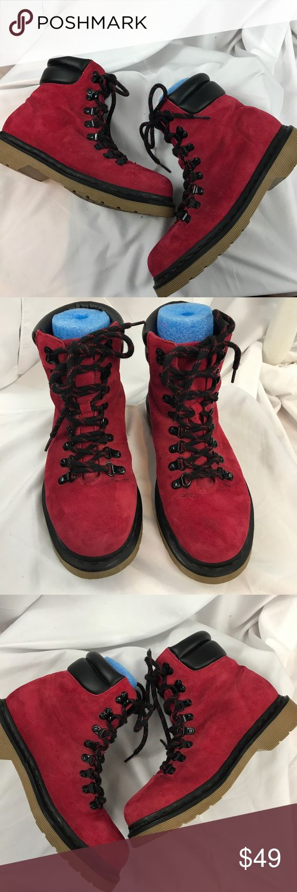 Dr. Martens sz7 Iris red suede lace up boots Excellent used condition Dr. Martens sz7 Iris red suede lace up boots...hiker boot style...some marks on both near laces-doesn't affect wear... Dr. Martens Shoes Ankle Boots & Booties