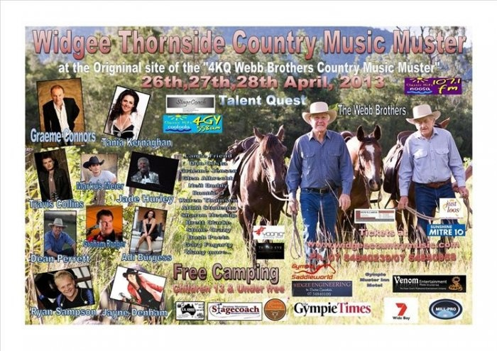 Widgee Country Music Muster, April 26 - 28 2013.