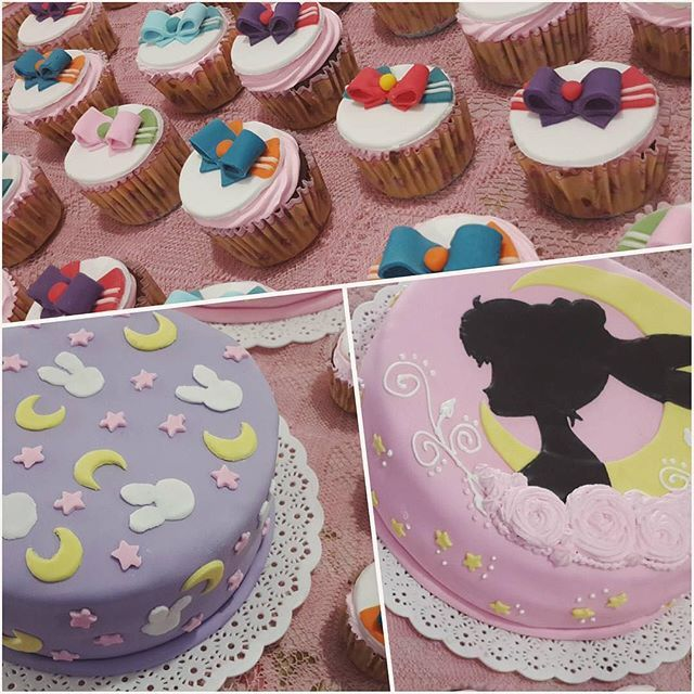 . First time seeing a Sailor Moon cake with the pattern of Usagi's bed sheet along with the beautiful cake and the cupcakes☺️ by @_impink