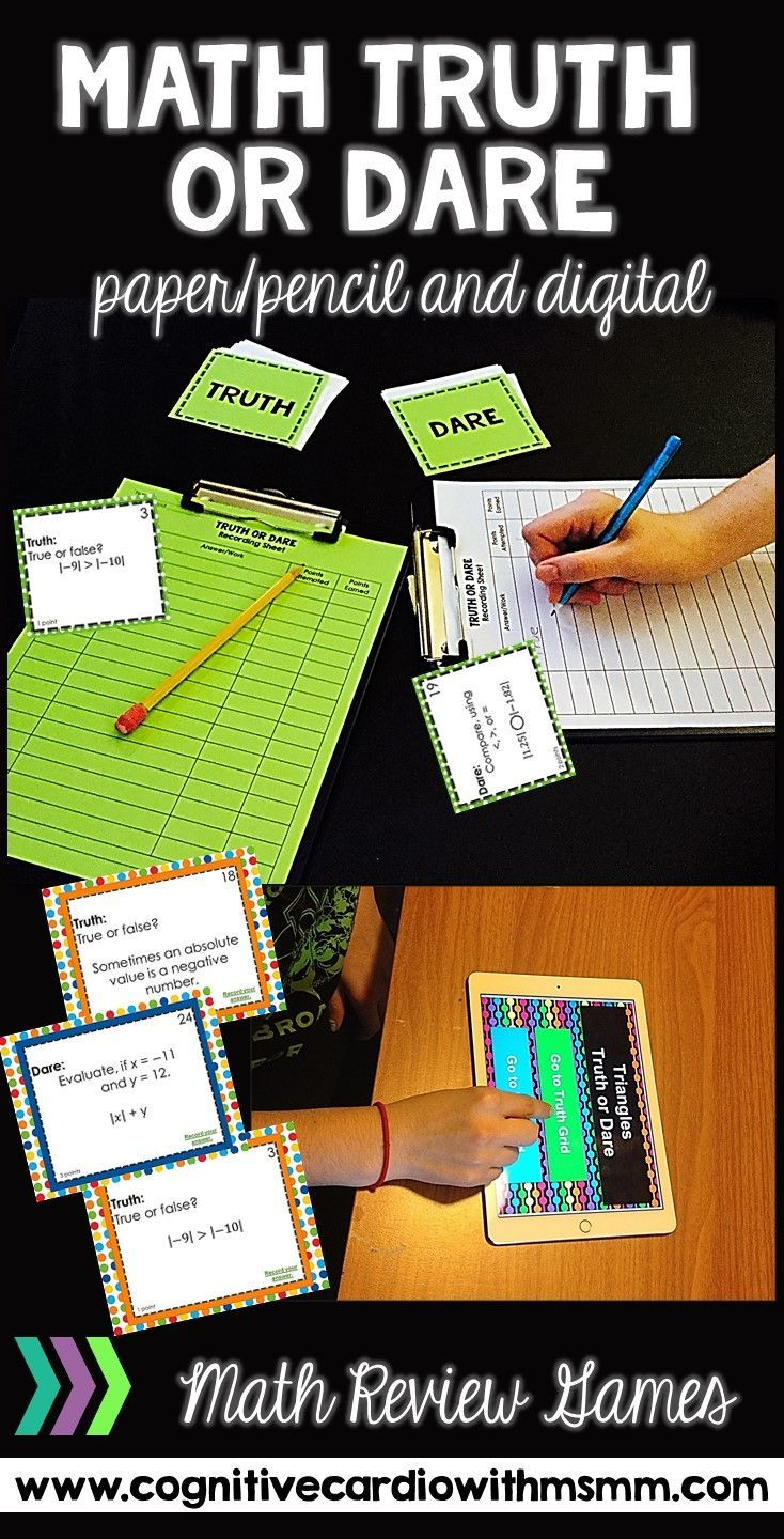Do you need a fun, challenging way to review math concepts? Math Truth or Dare games allow for self-differentiation and can lead to great discussions! So many ways to use both paper/pencil and Google Classroom versions!
