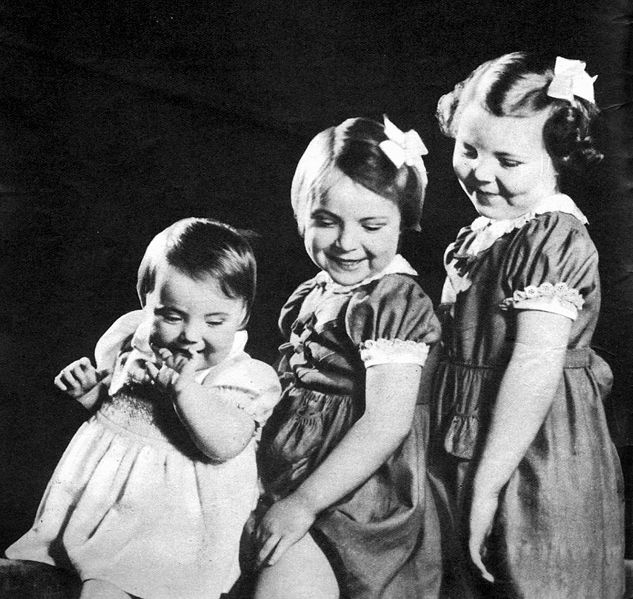 """This was when they still lived in Ottawa, Canada during WW2.  Holland was still occupied by the Nazi forces.  """" Princesses Margriet, Irene, and Beatrix."""""""