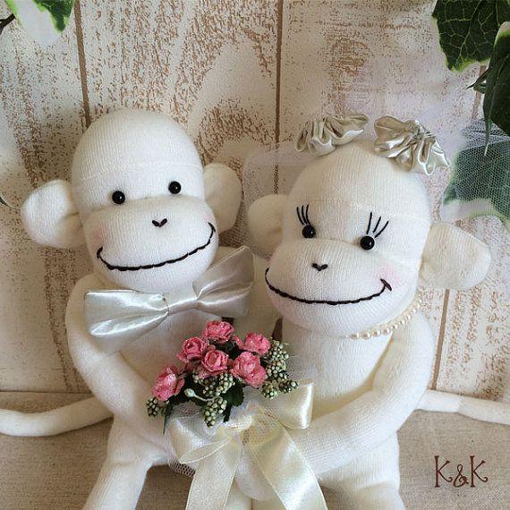 Wedding Sock Monkey Doll  Wedding Dolls by KnKCraftsAndDesigns