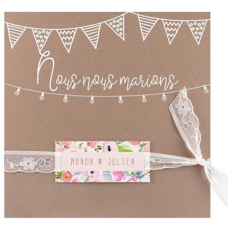 Faire-part mariage nature romantique bohème marron dentelle fleurs Regalb Imagine 2020 JT3606
