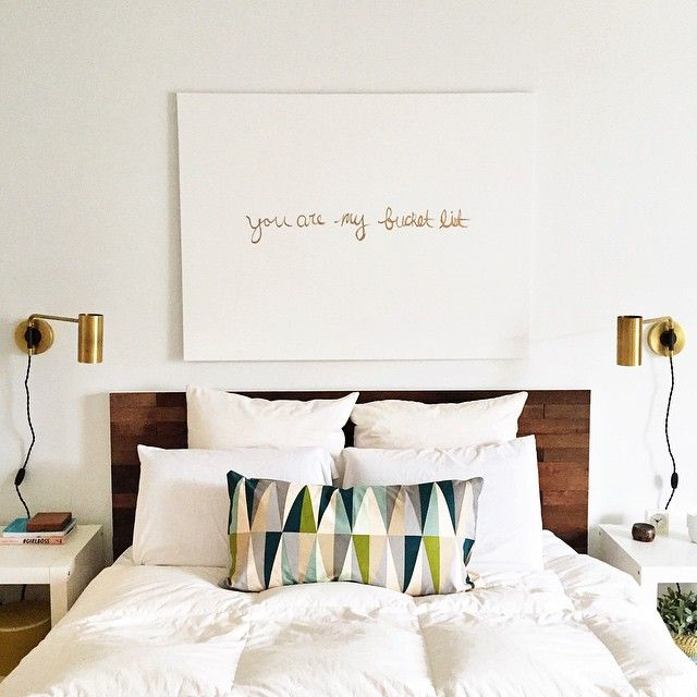 you are my bucket list artwork and schoolhouse electric sconces this helps me see that dark wood and white is what i really like bedroom sconce lighting