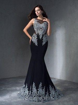 Trumpet/Mermaid Scoop Applique Sleeveless Sweep/Brush Train Chiffon Dresses - Evening Dresses - Occasion Dresses - QueenaBelle.com