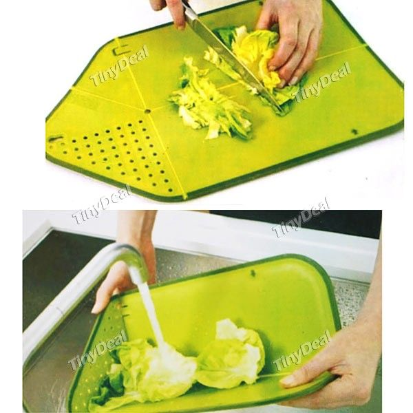 2 in 1 Folding Rinse and Chop Chopping Board Colander for Kitchen (Assorted Color) HLI-120389