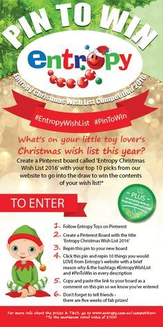 We are so excited – our Entropy Christmas Wish List Competition is back! For How to Enter read this graphic, or head here for the full T&Cs: www.entropy.com.au/competitions. There's a fabulous prize to be won every week with a chance to ultimately win your Entropy Wish List, so happy pinning! #EntropyWishList #PintoWin