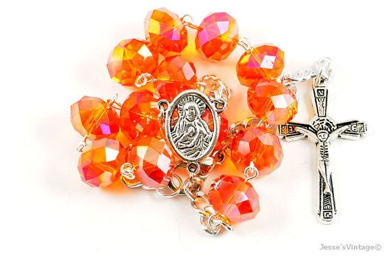 Orange Topaz Glass Rondelle Catholic 1 Decade by JessesVintage, $10.95