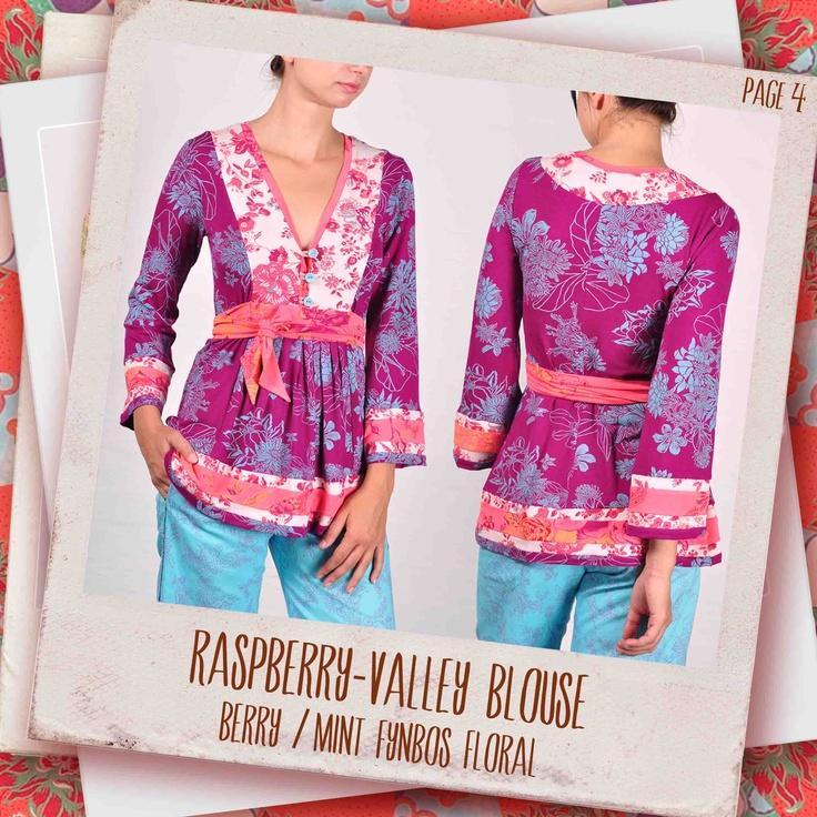 Raspberry-Valley blouse in Berry/ mint Fynbos Frenzy
