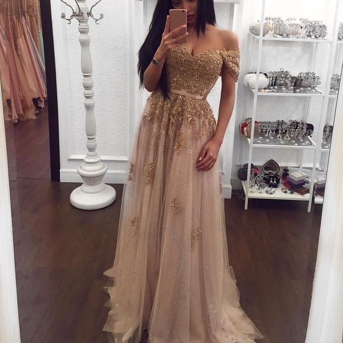 champagne Color Prom Dresses Sexy Beading Prom Gown , Prom Dress with cap Sleeve by comigodress, $155.29 USD