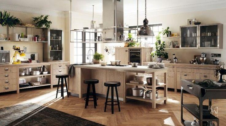 cocina armarios isla madera amplia ideas