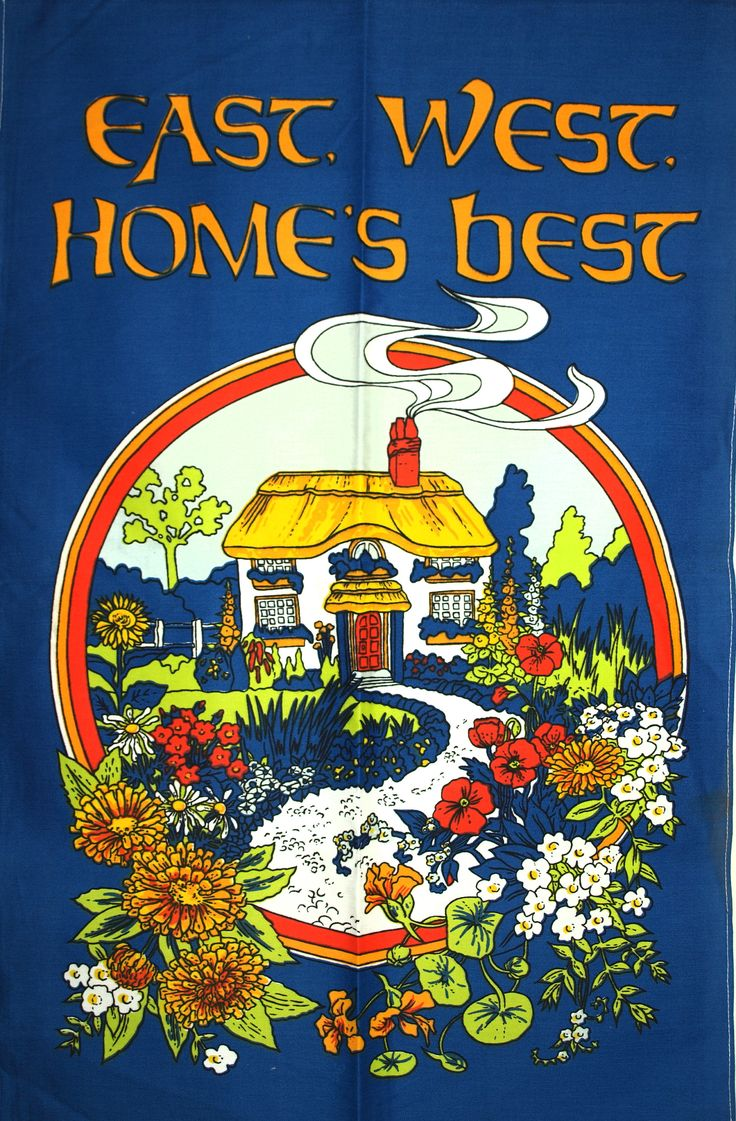 East West Home's Best Tea Towel - Vintage Home is Where the Heart Is Cottage Garden Flowers - New Old Stock by FunkyKoala on Etsy