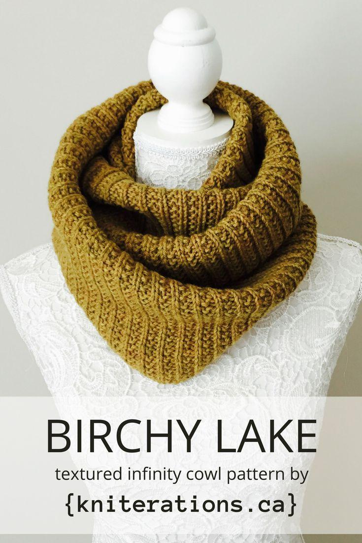 BIRCHY LAKE textured infinity cowl knitting pattern by Allison O'Mahony aka Kniterations.ca