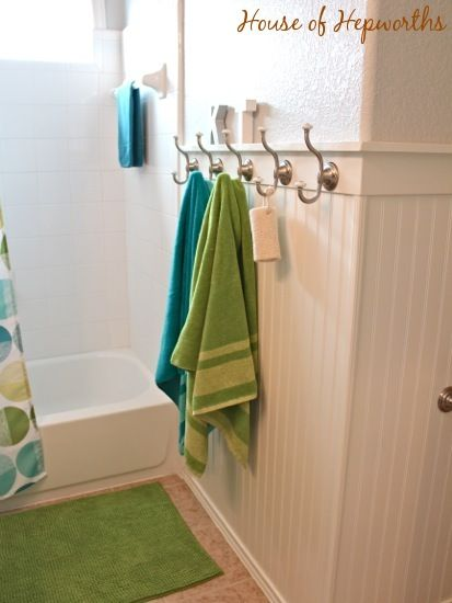 House of Hepworths   Helping you DIY your home one awesome project at a  time Hooks in lieu of towel bar in kids  bath. 17 Best ideas about Green Bathrooms on Pinterest   Green bathroom