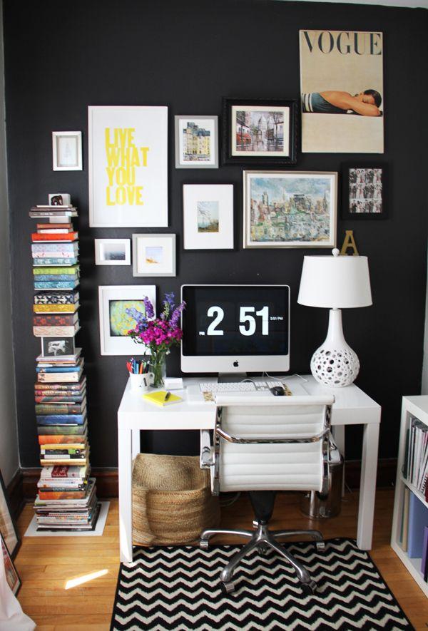 Editor @Alaina Kaczmarski's Home Tour // home office // black wall // gallery wall // chevron rug // black and white // colorful