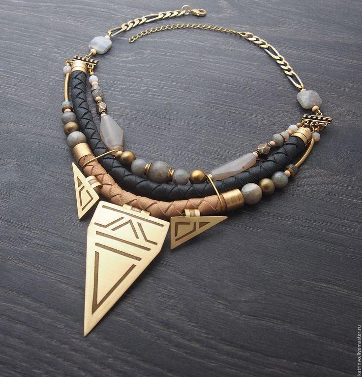 """Купить Колье с лабрадоритом """"Arrow"""". Украшение с камнями и кожей - колье, ожереле, колье с камнями"""