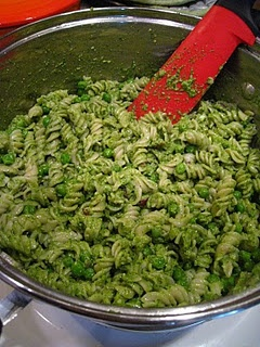 Spinach basil pesto (made with nutritional yeast instead of Parmesan cheese and sunflower seeds instead of pine nuts) -- such a great way to use spinach.  I drool over this!  (Easy to freeze too!)