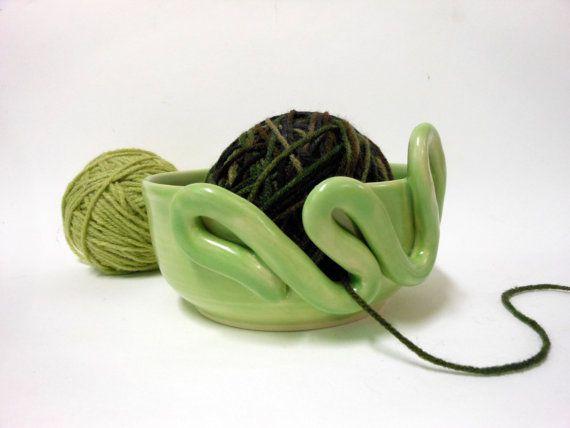 Decorative Key Lime Ceramic Yarn Bowl by Uturn on Etsy, $32.00