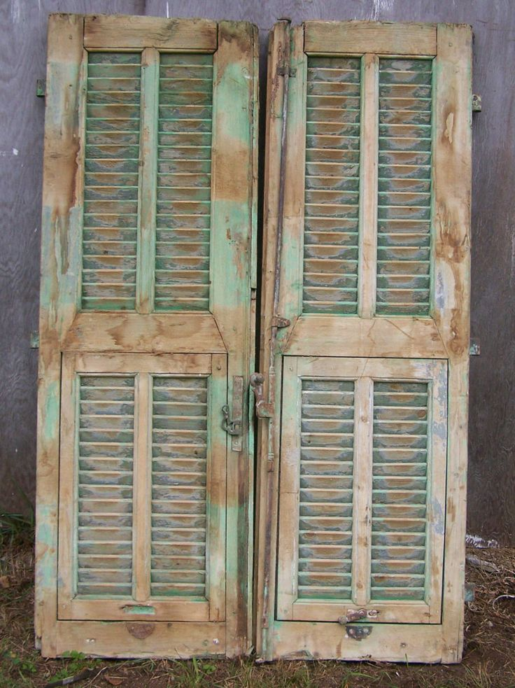 shutters,mediterranean Shutter window,Antique Wooden Architectural,rustic old shutters,salvage,Wall Decor Piece,chippy paint by TheLittleMuseumCo on Etsy
