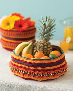 Stash fruit, yarn, or your favorite crochet magazine (ahem) in these colorful containers decorated with beaded trim.