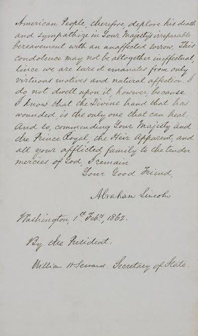 Letter from Abraham Lincoln to Queen Victoria on the Death of Prince Albert (page two) (1862)
