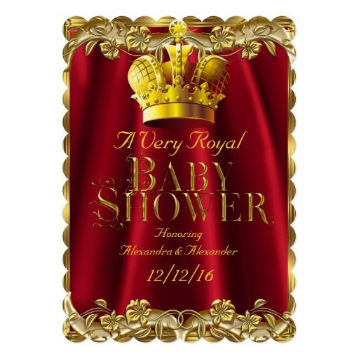Neutral Baby Shower Royal Regal Red Gold Crown Card