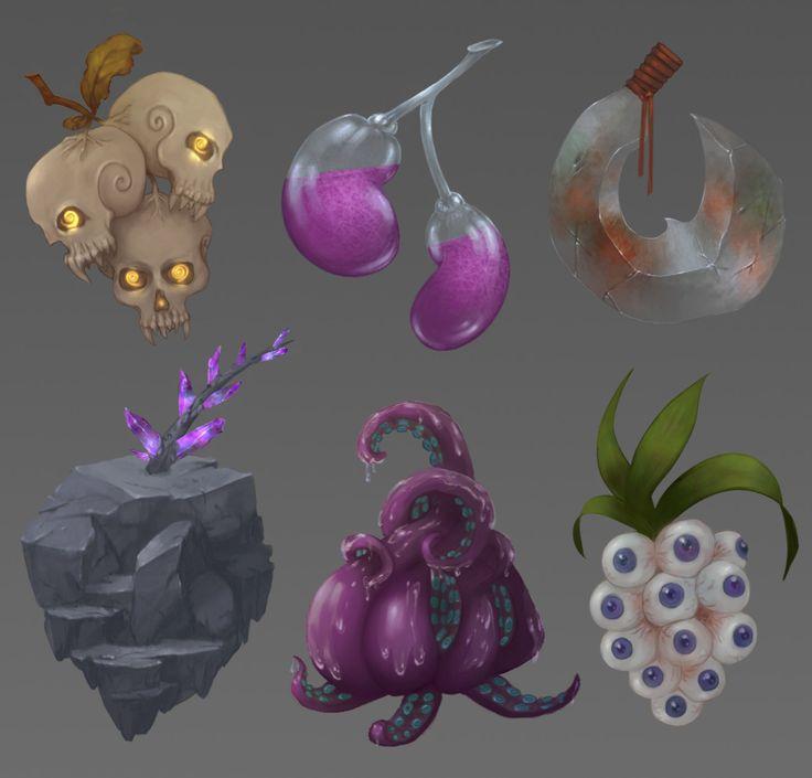 Crazy Fruits, Anna Nikitina on ArtStation at https://www.artstation.com/artwork/4dygq