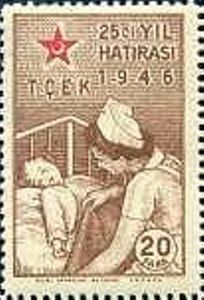 Turkiye stamp 1946, Covering Infant by a Nurse (Children's Aid Association, 25 Years)